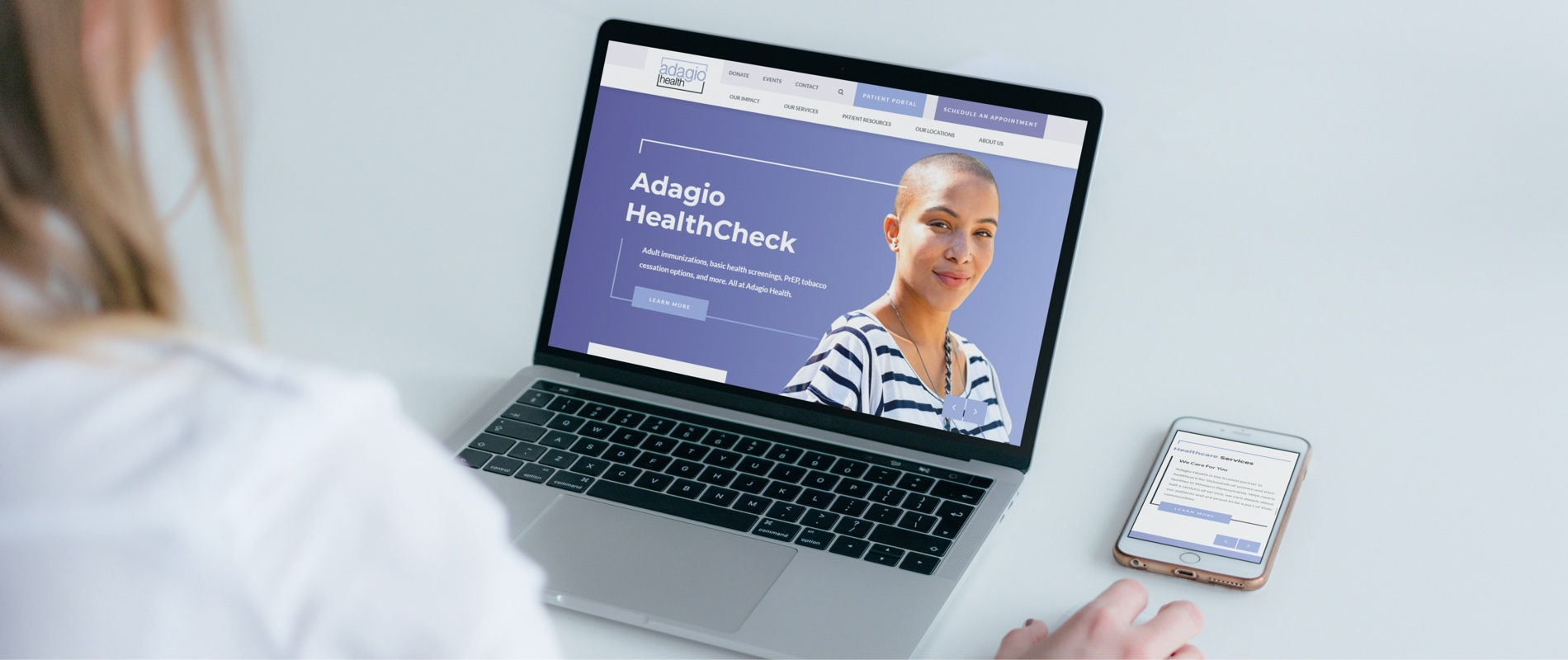 adagio health homepage on a computer screen