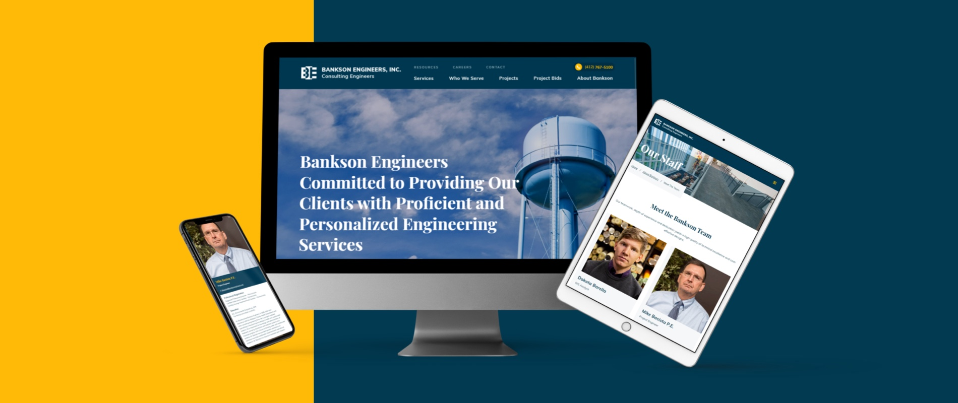 Bankson website case study image of screen